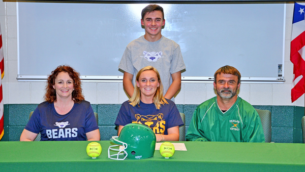 Fairland Lady Dragons' softball standout Mollie Morris signed a letter-of-intent with St. Joseph's College of Brooklyn, N.Y., on Thursday. Attending the ceremony were, seated left to right, mother Christie, Mollie, and father Jason Morris; standing is brother Wyatt Morris. (Kent Sanborn of Southern Ohio Sports Photos)
