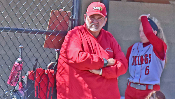 """Symmes Valley Lady Vikings' head softball coach Jeff """"Odie"""" Estep recorded his 400th career win on Saturday. (Kent Sanborn of Southern Ohio Sports Photos.com)"""