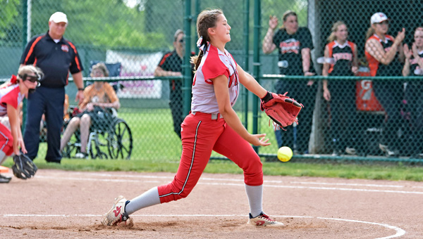 Symmes Valley Lady Vikings' Kaitlyn Payne releases a pitch during Wednesday's Division IV regional tournament semifinal game at Pickerington. The Lady Vikings fell to the Strasburg-Franklin Lady Tigers 8-3. (Kent Sanborn of Southern Ohio Sports Photos)