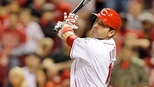 Cincinnati first baseman Joey Votto hit a 3-run homer off Johnny Cueto on Monday but the Reds couldn't hold the lead in a 9-6 loss to the San Francisco Giants. (Photo Courtesy of The Cincinnati Reds.com)