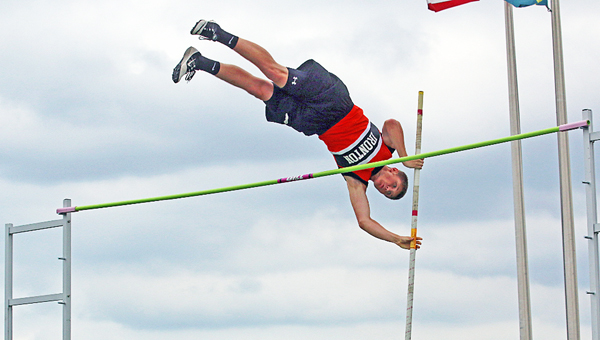 Ironton Fighting Tigers' pole vaulter Eli Willis clears 13-6 during Thursday's Division II regional track meet. (Tim Gearhart of Tim's News & Novelties, Park Ave. in Ironton)