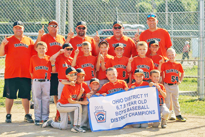 The Ironton 6-7-8-year-old All-Stars won the District 11 championship. Team members are: front row from left to right, Aiden Hankins, Jase Williams, Mason Weber, Carter Bridges, Jacob Hughes and Blake Medinger; second row left to right, Dawson Philyaw, Carson Akers, Callin Cox, Nixon Snavely, Brycen Mullins, Braiden Linn, Ashton Layne and Tyson Harvey; third row from left to right, coaches Nick Medinger, Jim Dean and Chad Bridges, manager Johnny Hughes and coach Jason Philyaw. (Photo Submitted)