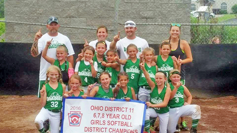 The Fairland Little League 6-7-8-year-old softball all-stars won the District 11 championship on June 15. Team members are: front row from left to right, Bailey Russell, Teagan Leep, Ally Shephard, Cheyenne Davidson, Emily Board and Raylenne Chapman; second row from left to right, MacKenzie Waugh, Katie DeHart, Jordan Spencer, Jolee Jerrell, Miley Steward, Aubrey Hayes and Addison Godby; third row from left to right, coaches Dave Waugh, Nikki Hayes, Mark Hayes and Brooke DeMoya. (Photo Submitted by Kriste Edmonds)