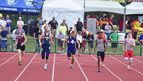 Chesapeake Panthers' sophomore sprinter Cecil Fletcher (3rd from left) races to a fourth place finish in the 400-meter dash in the Division III state track and field meet on Saturday. (Kent Sanborn of Southern Ohio Sports Photos)