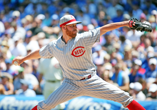 Cincinnati Reds pitcher Anthony DeSclafani works against the Chicago Cubs in the first inning on Wednesday at Wrigley Field in Chicago. The Reds won, 5-3. (Brian Cassella/Chicago Tribune/TNS)