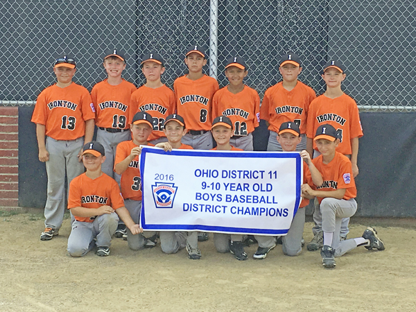 The Ironton Little League 9-10-year-old All-Stars won the District 11 championship and will play in the state tournament starting Saturday in Dover. The team will have a fundraiser from 4-8 p.m. on Wednesday at Sta-Tan Swimming Pool. Checks may be mailed to the Ironton Little League, P.O. Box 345, Ironton, OH 45638. Members of the team are: front row from left to right, Hunter Freeman, Drew Brown, Ian Ginger, A.J. Daniels, Brady Medinger and Tommy Sheridan; standing left to right, Brady Moatz, Owen Johnson, Braden Schreck, Jonathon Wylie, Kerstin Roach, Maddox Vass and Connor Kleinman. The team's manager is Travis Wylie and coaches are Ty Davis, Buddy Kleinman and Josh Freeman. Statistician is Tobey Schreck. (Photo Submitted)