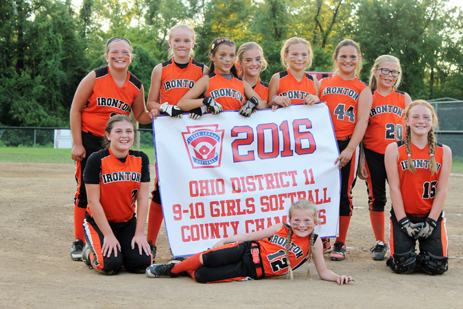 Photo SUBMITTED The Ironton girls' softball 9-10-year-old All-Stars went unbeaten in the District 11 Lawrence County tournament to claim the championship. Ironton beat Fairland 16-4, Symmes Valley 16-1, South Point 2-0 and then South Point again 3-2. Team members are: front row left to right, Riley Daniels, Addison Philabaun and Olivia Duncan; standing left to right, Ava Weber, Kirsten Williams, Braylin Wallace, Emily Weber, Kiarah Cox, Katelynn Moore and Brae-Leigh Thomas. The team was managed by T.J. Weber.