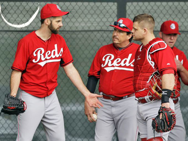 The Cincinnati Reds fired pitching coach Mark Riggins on Monday and replaced him with bullpen and assistant pitching coach Mack Jenkins (center). (Photo courtesy of the Cincinnati Reds.com)
