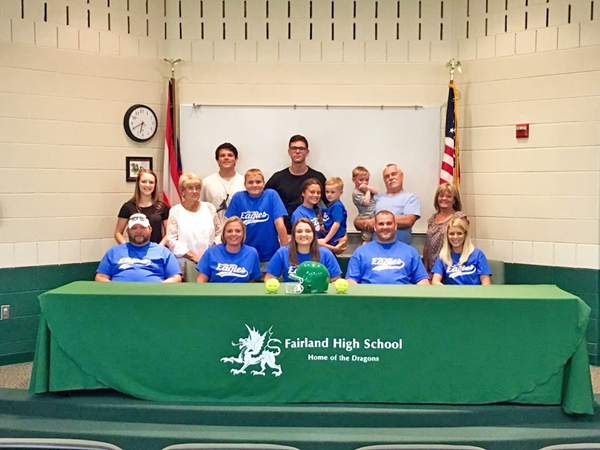 Fairland Lady Dragons' senior softball standout Maddy Kazee signed on Wednesday to play at Alice Lloyd College. Attending the signing ceremony are: seated from left to right, stepfather Mark Hinkle, mother Christi Hinkle, Maddy, father Mike Kazee and stepmother Brenda Kazee; second row left to right, cousin Karli Fuller, grandmother Sheila Young, brother Riley Kazee, sister Makenzie Kazee, brother Conner Kazee, brother Carter Kazee, grandfather Dallas Kazee and grandmother Joyce Jackson; third row left to right, cousins Logan Hamlin and Drake Cox. (Photo Submitted)