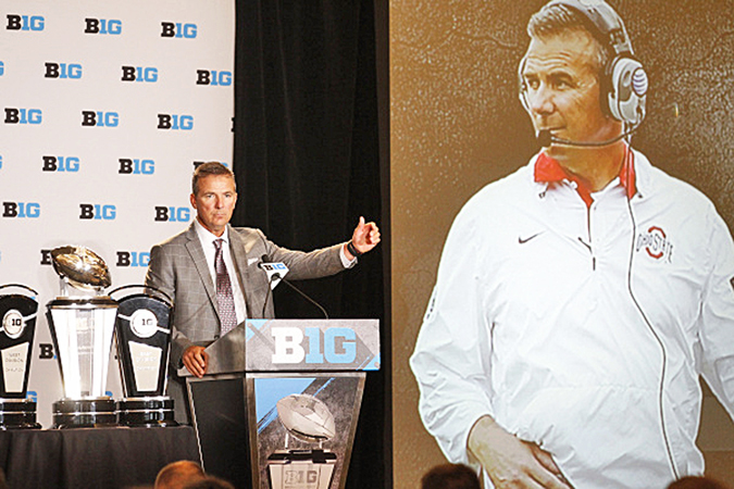 Ohio State Buckeyes' head football coach Urban Meyer addresses the Big Ten media during the second day of the conference media days on Tuesday. (Photo Courtesy of Big Ten.com)