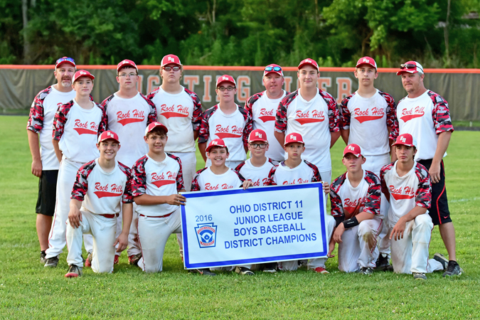 Kent Sanborn of Southern Ohio Sports Photos The Rock Hill Junior League All-Stars won the District 11 championship this season and played in the state tournament last week in Poland. The team finished third overall. Members of the team are: front row from left to right, Seth Nichols, Hayden Harper, Nate Bias, Dawson Damron, Andrew Clark, Mason Barber and Brayden Friend; second row from left to right, coach Matt Dillon, Jordan Griffith, Ethan McClaskey, Tucker Carpenter, Evan Cremeans, coach Shawn McClaskey, Jacob Schwab, Calab Dillon and coach Lonnie Griffith.