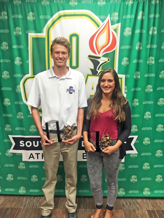 The Ohio High School Athletic Association awarded $36,000 in academic/athletic scholarships to students throughout the state. The Southeast District had four students honored including Chesapeake senior Wesley Stephens (left) and Fairland senior Taylor Perry. Stephens was awarded a $1,0000 scholarship. (Photo Submitted)
