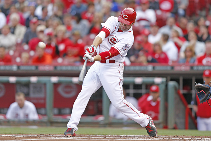 Cincinnati first baseman Joey Votto collected four hits but the Reds still lost 9-1 to the Milwaukee Brewers on Saturday. (Photo by Joe Robbins/Getty Images)