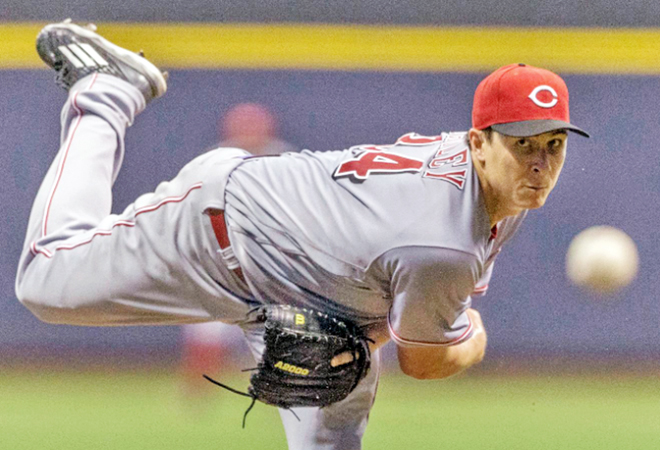 Cincinnati Reds' righthander Homer Bailey worked six scoreless innings and struck out 11 in a dominating performance on Friday. The Reds beat the Milwaukee Brewers 7-4. (Photo Courtesy of The Cincinnati Reds.com/Tom Lynn — Associated Press)