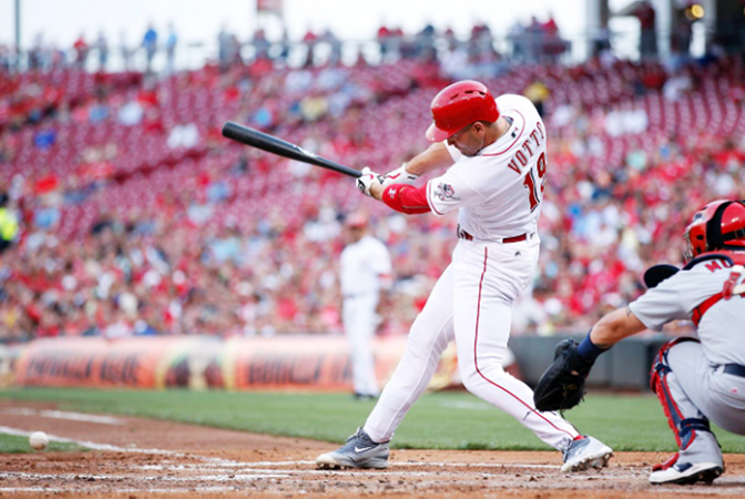Cincinnati Reds' first baseman Joey Votto had an RBI single in the first inning that extended his batting streak to a career-high 17 games on Wednesday. Despite Votto's efforts, the Reds lost to the St. Louis Cardinals 5-4. (Photo Courtesy of The Cincinnati Reds.com/Joe Robbins — Gettys Images)