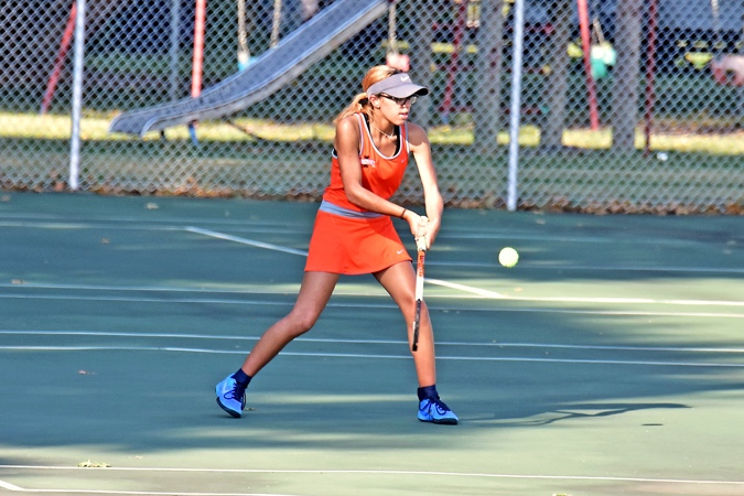 Ironton Lady Fighting Tigers' tennis standout Aleigha Justice is small in size but large in determination as she prepares for her goal to reach the state tournament. (Kent Sanborn of Southern Ohio Sports Photos)