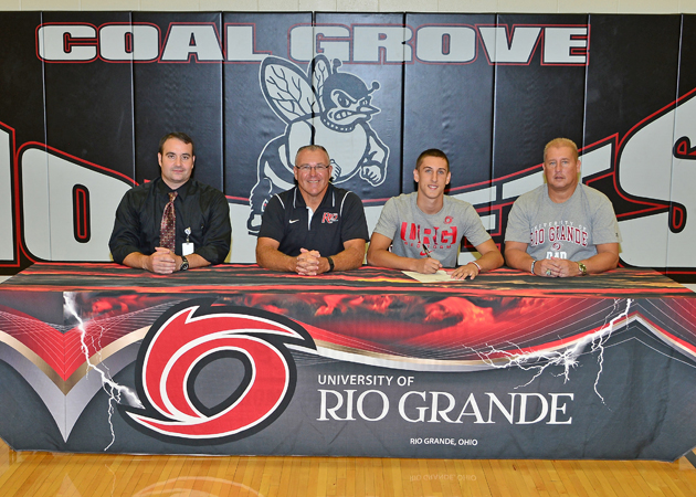 Coal Grove Hornets' senior baseball standout Chase McKnight signed a letter-of-intent Wednesday to play at the University of Rio Grande. Attending the ceremony were, from left to right, Hornets' head coach Dean Mader, Rio Grande coach Brad Warnimont, Chase and father Kyle McKnight. (Kent Sanborn of Southern Ohio Sports Photos)