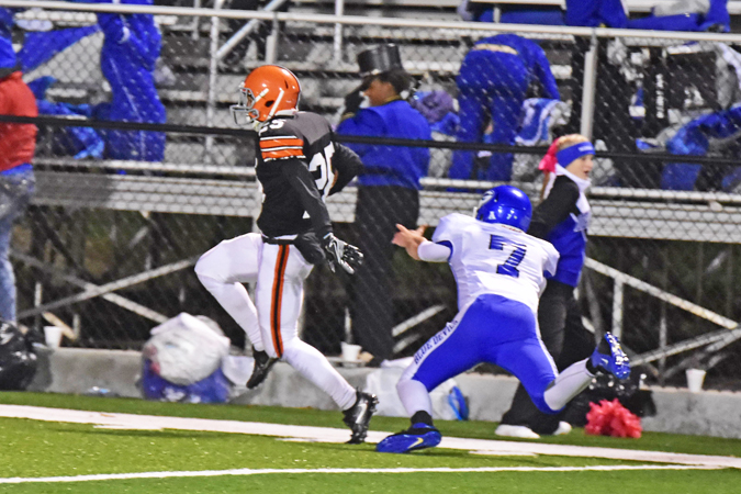 Ironton Fighting Tigers' defensive back Jourdyn Barrow scoots down the sideline on a 49-yard interception return for a touchdown in a 49-0 win over Gallipolis. (Kent Sanborn of Southern Ohio Sports Photos)
