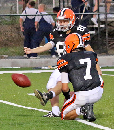 Tre Neal has spent the past two seasons playing two sports at the same time at two different schools. Neal plays soccer at Ironton St. Joseph and is the football team's placekicker at Ironton High School. (Kent Sanborn of Southern Ohio Sports Photos)