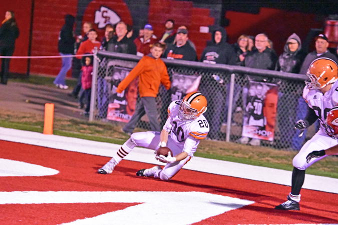 Ironton's Eli Willis (20) makes an excellent catch for a two-point conversion during Saturday's Division V Region 19 quarterfinal playoff game. The Fighting Tigers lost to Coshocton 34-11. (Kent Sanborn of Southern Ohio Sports Photos)