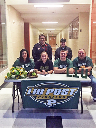 Wheelersburg Lady Pirates' softball standout Bre Klaiber signed a letter-of-intent to play for Long Island University-Post on Monday. Attending the ceremony were: seated left to right, mother Melissa, Bre, brother Trent, and father Bill; standing back row left to right, Wheelersburg head coach Teresa Ruby and assistant coach Susan Reutzel. (Photo Submitted)