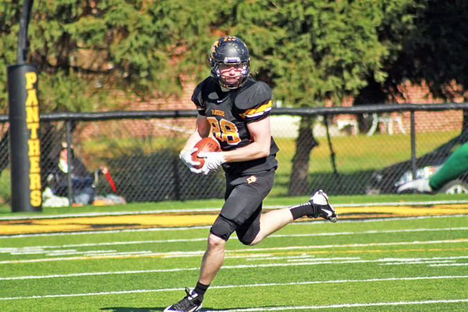 Ohio Dominican University senior tight end Aaron Stephens hauls in a pass and looks for running room. The former Ironton Fighting Tigers' All-Ohio standout was named honorable mention to the All-Great Lakes Intercollegiate Athletic Conference team. (Photo Submitted)