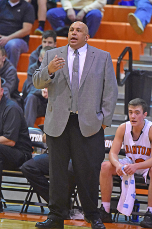 Ironton Fighting Tigers' boys' head basketball coach Mark LaFon was presented with a plaque for hi 200th career win. (Kent Sanborn of Southern Ohio Sports Photos.com)