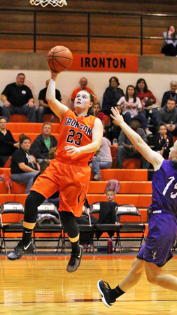 Ironton Lady Fighting Tigers' senior guard Sydney Webb derives for a layup as she scores two of her 15 points in a 72-46 season-opening win over Lexington on Friday. (Tim Gearhart of Tim's News & Novelties, Park Ave. in Ironton)