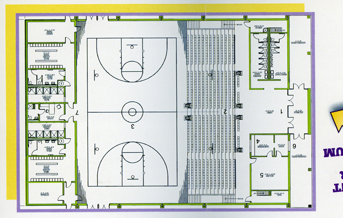 The proposed basketball court and other areas in the Parish Life Cengter of the Ironton Catholic Community.