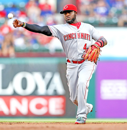 The Cincinnati Reds traded second baseman Brandon Phillips (4) to the Atlanta Braves on Sunday for two minor league pitchers. (Steve Nurenberg/Fort Worth Star-Telegram/TNS)